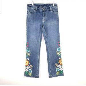 Boston Proper Sz 8 Jeans w/ Floral embroidery Retr